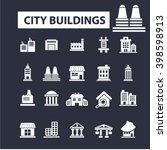 city buildings icons  | Shutterstock .eps vector #398598913