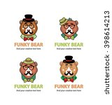 collection of 4 funky bear... | Shutterstock .eps vector #398614213