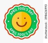 Smiling orange color cartoon face sign on wavy circle badge with greeting text april fools day, vector flat illustration, smiling smile vector icon, smile shape in circle, orange classic smile   Shutterstock vector #398626993