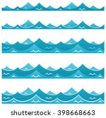 blue waves sea ocean vector... | Shutterstock .eps vector #398668663