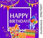 happy birthday  greeting card.... | Shutterstock .eps vector #398670007
