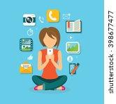 woman user smartphone design... | Shutterstock .eps vector #398677477