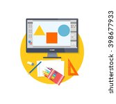 design graphic work space flat. ...