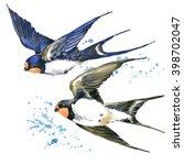 Stock photo swallow watercolor illustration spring bird swift flight 398702047
