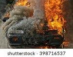 Burning Car   Fire And Smoke