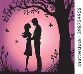 illustration black silhouette... | Shutterstock .eps vector #398734903