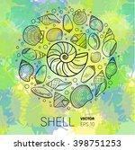 sea shell vector illustration... | Shutterstock .eps vector #398751253