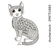 zentangle cat for coloring page ... | Shutterstock .eps vector #398751883