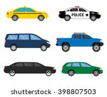 set of colored cars. taxi ... | Shutterstock .eps vector #398807503