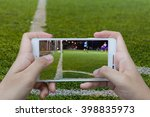 man use mobile phone  blur... | Shutterstock . vector #398835973