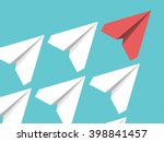 white and red paper planes... | Shutterstock .eps vector #398841457