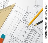 vector technical blueprint of ... | Shutterstock .eps vector #398847157