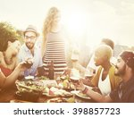diverse people friends hanging... | Shutterstock . vector #398857723
