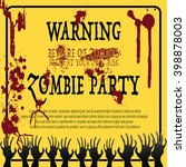 party invitation with zombie... | Shutterstock .eps vector #398878003