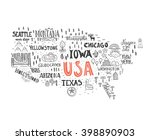 handdrawn illustration of usa... | Shutterstock .eps vector #398890903