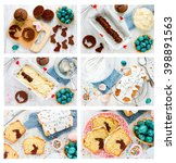 Small photo of Recipe step by step collage for cooking traditional Easter cake with chocolate bunny inside white icing and colorful sugar sprinkling