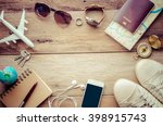 tourism planning and equipment... | Shutterstock . vector #398915743