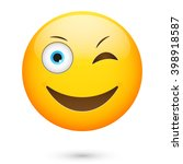 emoticon wink and smile.... | Shutterstock .eps vector #398918587