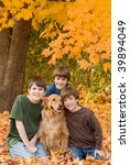 boys in the fall leaves | Shutterstock . vector #39894049