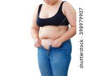 fat woman trying to wear jeans   Shutterstock . vector #398979907