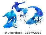 surfer. man in blue on the