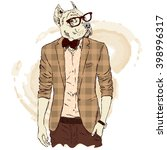pitbull hipster in a jacket and ... | Shutterstock .eps vector #398996317