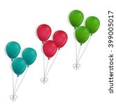 3 bunches of balloons | Shutterstock .eps vector #399005017