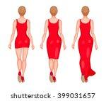 slender women dressed in red... | Shutterstock .eps vector #399031657