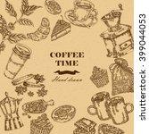 coffee design template. hand... | Shutterstock .eps vector #399044053
