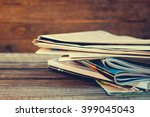 newspapers and magazines on old ...   Shutterstock . vector #399045043