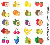 set of fruits flat vector... | Shutterstock . vector #399049063