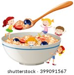 kids and oatmeal with berries... | Shutterstock .eps vector #399091567