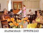 old people in geriatric hospice ... | Shutterstock . vector #399096163