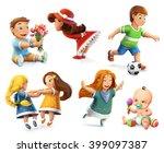children. little girls and boys.... | Shutterstock .eps vector #399097387