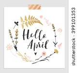 cute spring floral card... | Shutterstock .eps vector #399101353