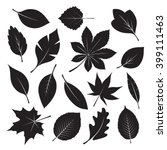 composition of black leafs.... | Shutterstock .eps vector #399111463