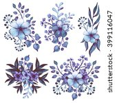 set of watercolor bouquets with ... | Shutterstock . vector #399116047