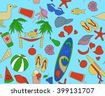 pattern with beach objects  an...