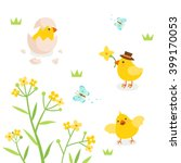 cute chicks with spring flower... | Shutterstock .eps vector #399170053
