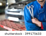 hand of car mechanic with... | Shutterstock . vector #399175633