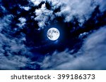 nightly sky with large moon | Shutterstock . vector #399186373
