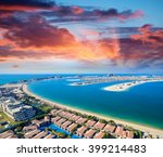 helicopter view of dubai palm... | Shutterstock . vector #399214483