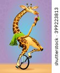 funny giraffe on an unicycle.... | Shutterstock .eps vector #399223813