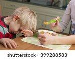 picky eater denying to eat... | Shutterstock . vector #399288583