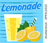 lemonade poster with blue... | Shutterstock .eps vector #399311023
