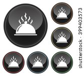 hot food platter icon glossy... | Shutterstock .eps vector #399403573