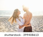 beautiful couple in love on the ... | Shutterstock . vector #399408613