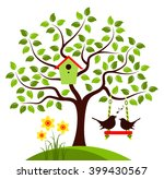 Vector Tree With Nesting Bird...