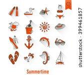 summer and beach simple flat... | Shutterstock . vector #399461857