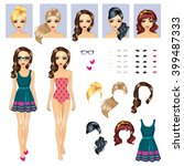 big girl characters avatars... | Shutterstock .eps vector #399487333